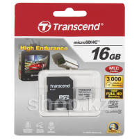 Карта памяти Micro SDHC 16Gb Transcend, Class 10, High Endurance, адаптер