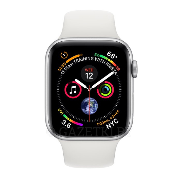 Смарт часы Apple Watch Series 4 Silver, спортивный ремешок белого цвета (MU642)