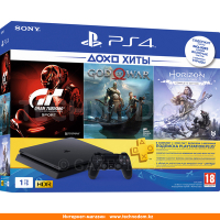Игровая консоль Sony Play Station 4 Slim 1TB, Black + Bundle (CUH-2208B/HZD/GTS/GOW/PS+3m)