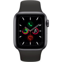 Apple Watch Series 5 GPS, 44mm Space Grey Aluminium Case with Black Sport