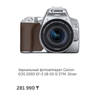 Зеркальный фотоаппарат Canon EOS 250D EF-S 18-55 IS STM, Silver