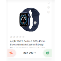 Apple Watch Series 6 GPS, 40mm Blue Aluminium Case with Deep Navy Sport Band - Regular, Model